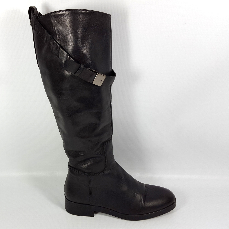 Tolle Zara Damen Gr.37 Echt Leder Stiefel Schwarz Reiterstiefel Spanien