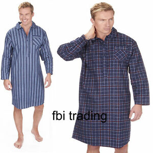 Image is loading Mens-Night-Shirt-Nightshirt-Pure100-Cotton-Flannel-Warm- e5d4cd99c