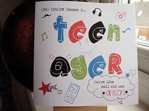 Handmade Personalised Modern Boys Teenager 13th Birthday Card Son