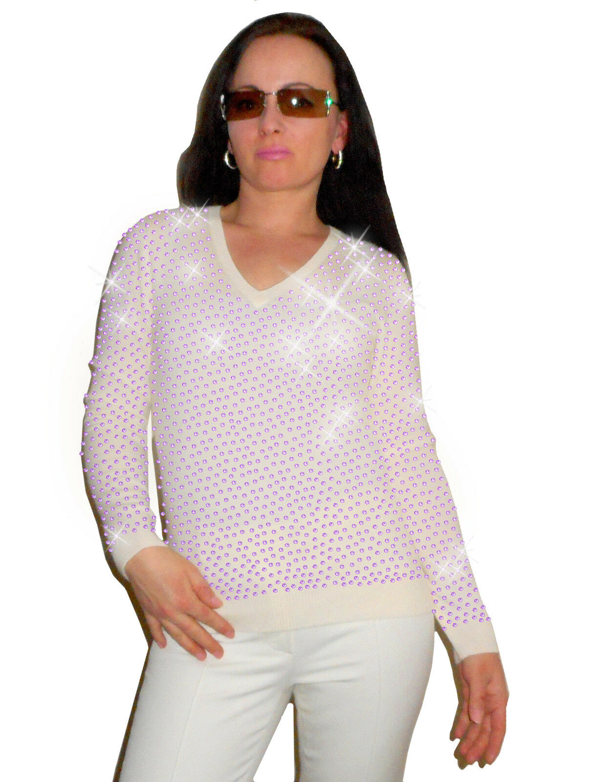 Luxe Oh` Dor 100% Cashmere Sweater Elite White Amethyst Amethyst Amethyst Purple 42 144 5 12FT   L 0650ac