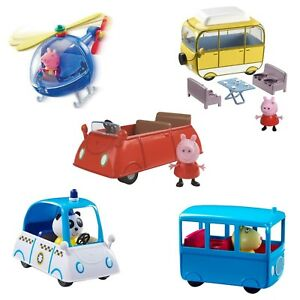 Peppa-Pig-Small-Car-Small-School-Bus-OR-Campervan-Inc-Figure-Fun-Toy-NEW-BOXED