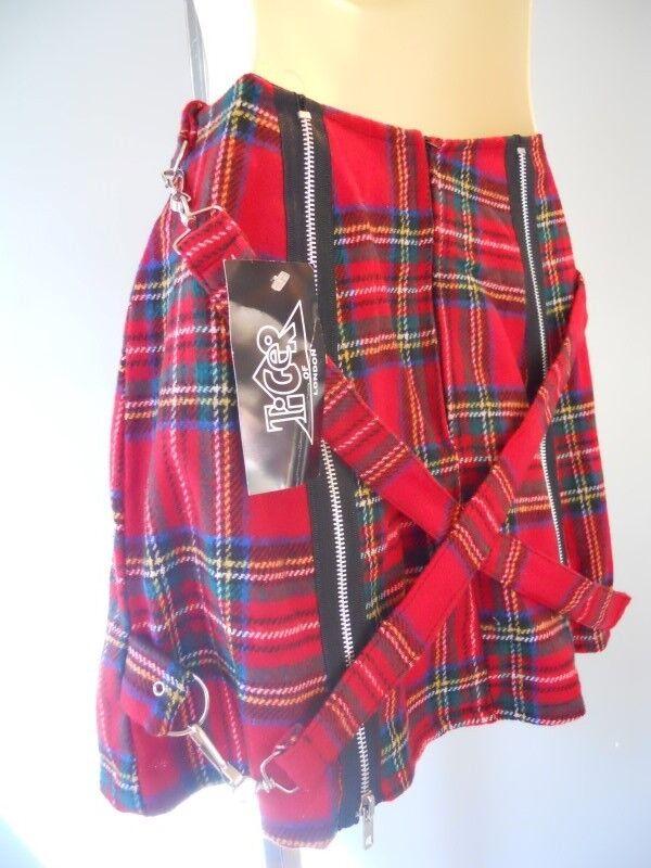 Nos rare Tiger de London rot Laine Écossais Mini jupe punk sangles Made in England S