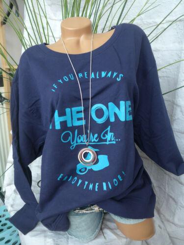 Sheego Sweatshirt Pulli Pullover Gr 40//42 bis 56//58 blau Aufdruck 951