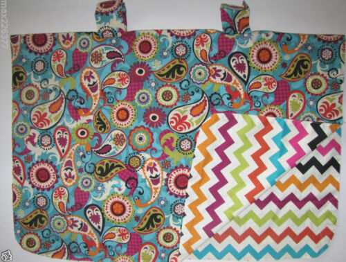 NEW baby INFANT car seat cover shade BLANKET lined canopy minky chevron PAYSLEY