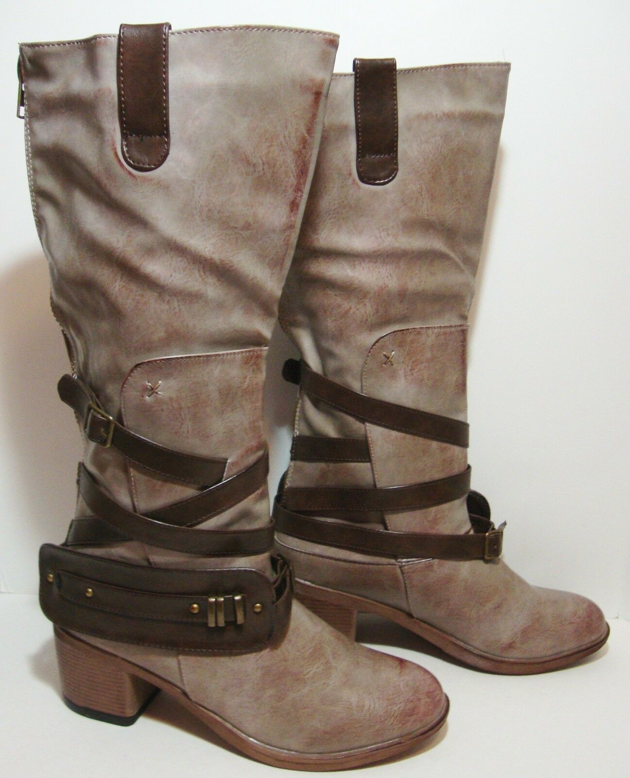 Steampunk Taupe Strappy Knee High bottes femmes 8