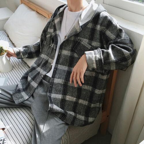 Mens Flannel Long Sleeve Check Shirt Hooded Oversized Casual Jacket Hoodie Hoody