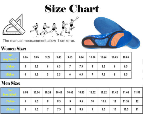 Unisex Gel Orthotic Sport Run Insoles Insert Shoe Pad Arch Support Heel Cushion