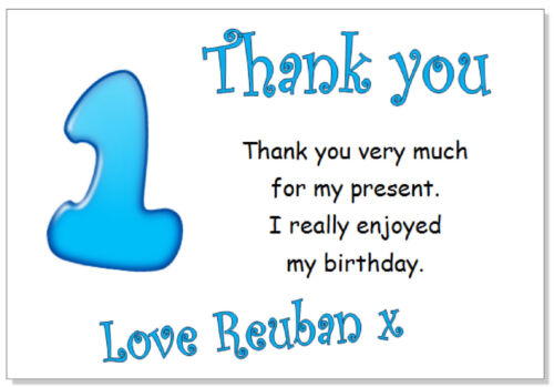10 Personalised Thank you CARDS /& envs thanks birthday age 9 party boys nine