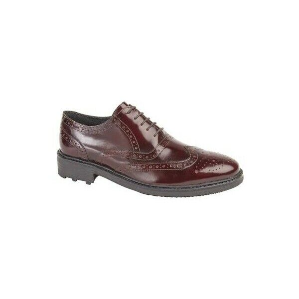 Roamers SILAS Mens Genuine Leather Brogue Lace Up Oxford schuhe Oxblood Hi-Shine