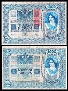 Austria-Hungary ÖSTERREICH 1000 KRONEN 1902   OVERPRINT * DEUTSCHOSTERREICH *