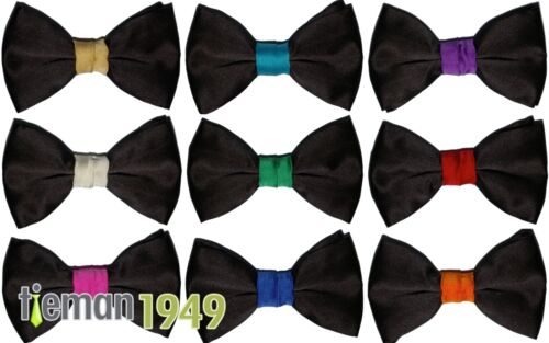 Italien Satin nœud papillon noir avec nœud couleur coloré Entièrement Réglable Tour de cou