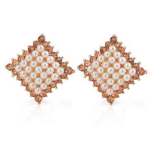 Meravigliosi-Oro-E-Bianco-Perle-Grappolo-Rombo-Borchie-Orecchini-Cristallo-E541