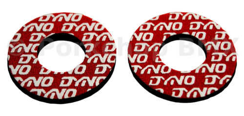 Dyno old school BMX bicycle grip foam donuts WHITE on RED LICENSED
