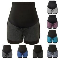 Frauen Mutterschaft Over-The-Belly Shorts Yoga Workout Kordelzug Taille 2020 Neu