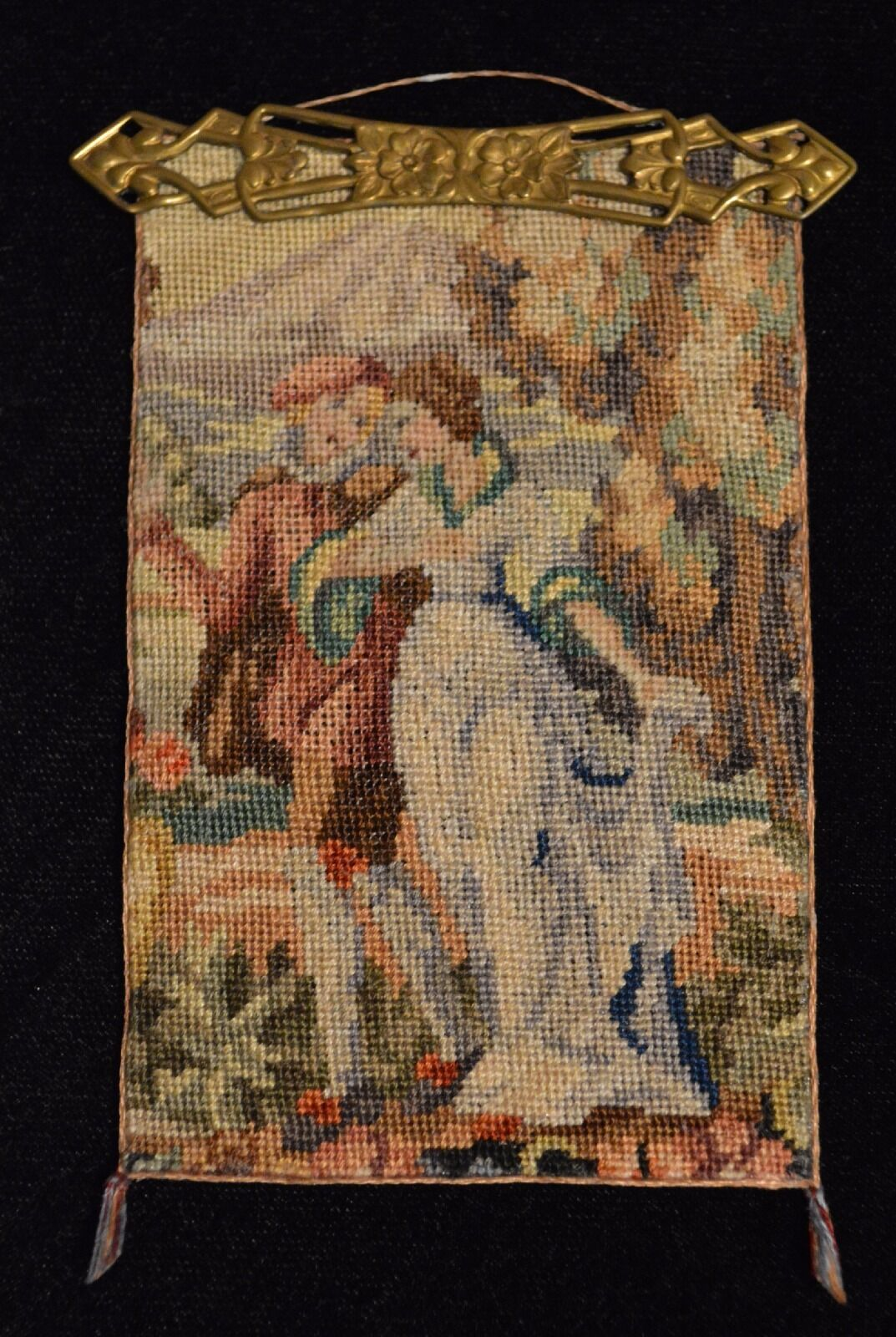 Miniature petit point banner wall hanging dollhouse 1:12
