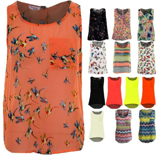 Girls Women/'s Butterfly Print Tank Top Vest Chiffon Blouse T-Shirt Sleeveless UK