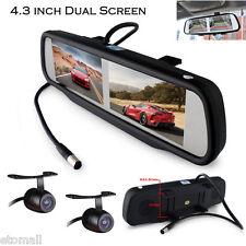 "4CH 4.3"" Dual Screen HD Digital TFT LCD Car Mirror Monitor+2 rear view Cameras"