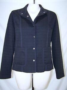 Aeros-Black-Long-Sleeve-Snap-Button-Front-Lined-Jacket-Womens-Size-Medium-8-10