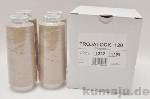 1,60 € km Trojalock Amann Garn Overlockgarn Farbe 1222 dunkelbeige 4 x 2500 m