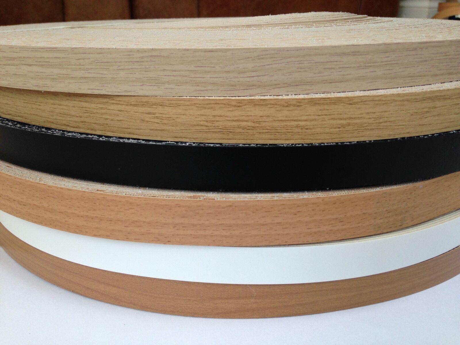 Iron on Pre-Glued Veneer Melamine Edging Tape 22mm BLACK BROWN OAK