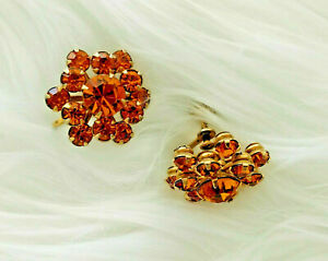 Unsigned-Vintage-Gold-Tone-GLAM-Faux-Citrine-Rhinestone-Screw-Back-Earrings