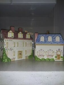 Lord-amp-Taylor-Ceramic-Cottage-House-Cookie-Jar-Canister-Set-Japan-Pottery-Rare
