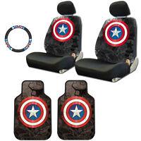 For Vw Captain America Car Seat Covers Floor Mat Steering Wheel Cover Set