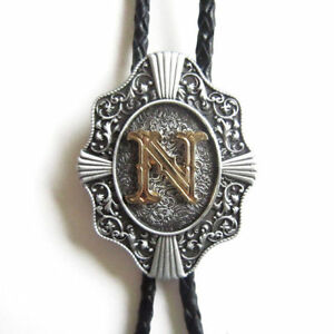 "Initial Letter ""N"" Western Cowboy Rodeo Bolo Tie"