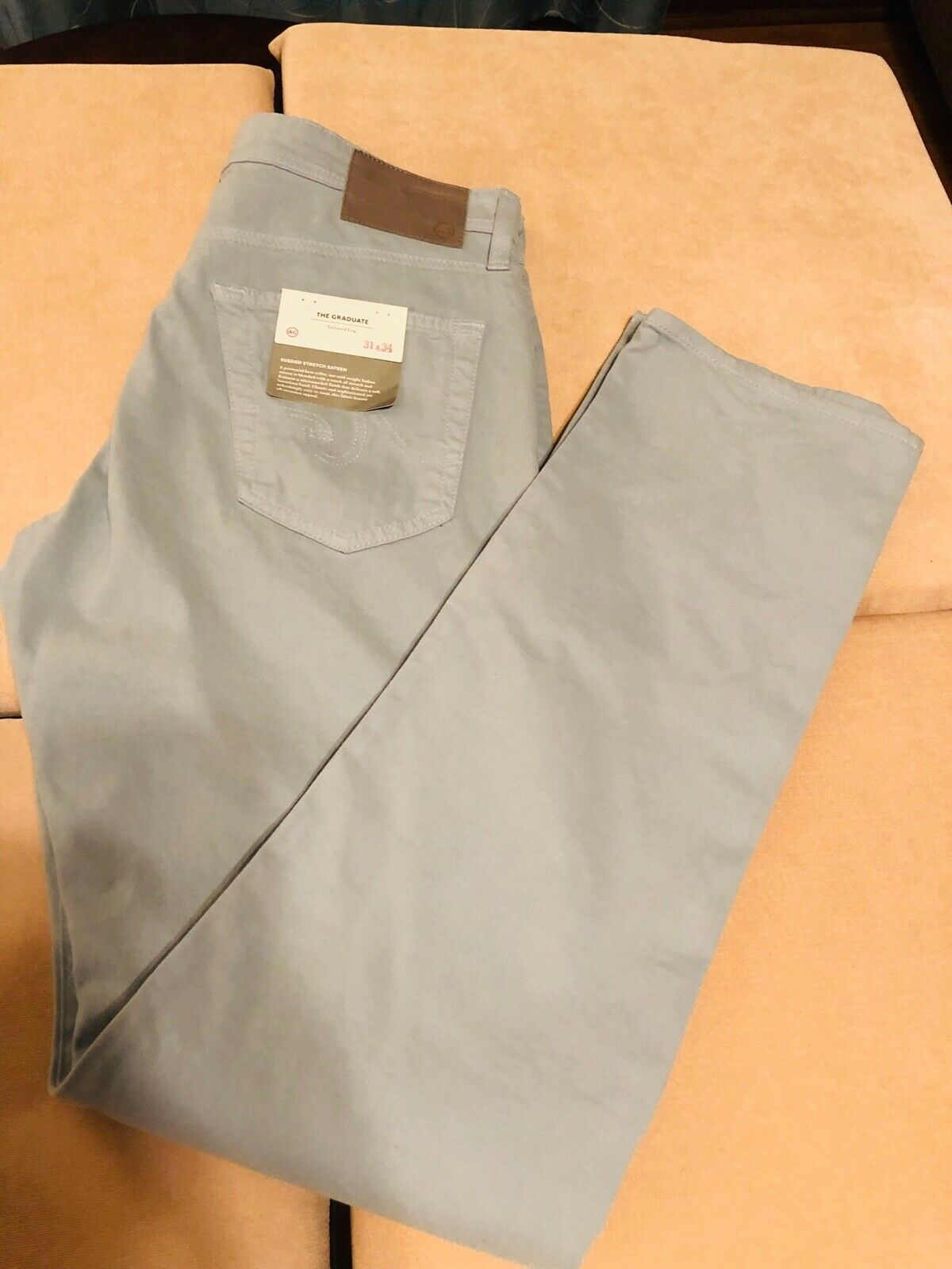 AG The Graduate Men's Jeans with sueded stretch sateen in light green mint 31x34