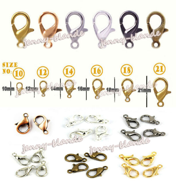 10//12//14//16mm Lobster Claw Clasps Hooks Fastener DIY Jewelry Making Acces