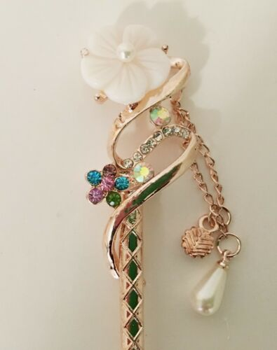 and Rhinestones Cherry Blossom Floral Design Hair Stick Made with Shell Pearl