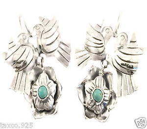 FRIDA-KAHLO-STYLE-TAXCO-MEXICAN-STERLING-SILVER-TURQUOISE-BIRD-EARRINGS-MEXICO