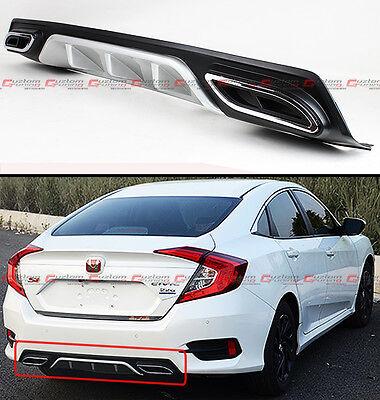 2016-18 For Honda Civic Silver Rear Bumper Diffuser W// Decorative Exhaust Tips
