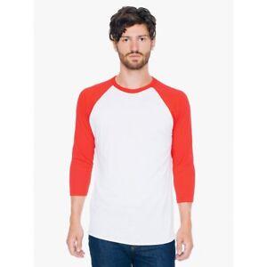 American-Apparel-50-50-Poly-Cotton-3-4-Raglan-Sleeve-Crew-Neck-T-Shirt-BB453