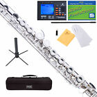 Mendini Silver / Nickel Plated Student C Flute w/ Spilt E Key +Stand+Tuner+Book