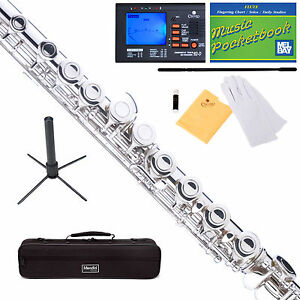 Mendini-Silver-Nickel-Plated-Student-C-Flute-w-Spilt-E-Key-Stand-Tuner-Book