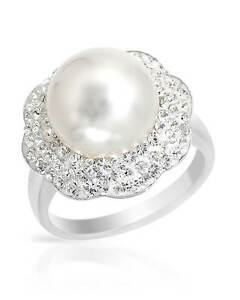 Lovely-Ring-W-Genuine-Crystal-amp-Faux-pearl-in-White-Enamel-amp-925-Sterling-Silver