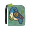 NEW CHALA GREEN BLUE BIRD  ZIPPERED WALLET FAUX LEATHER