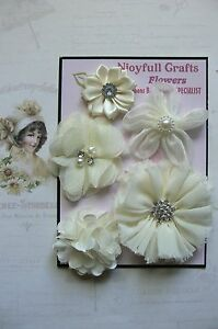 HANDMADE-5-Flower-Mix-IVORY-CREAM-Lace-Organza-35-45-50-55-amp-70mm-NCrafts-HM1-6