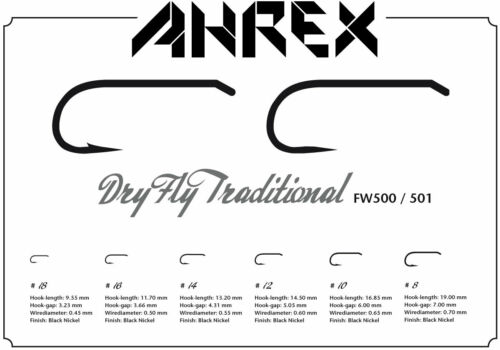 AHREX TROUT DRY FLY TYING HOOKS fw500//501 BARBED OR BARBLESS HOOKS SUPER STRONG