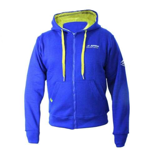 Blue// Yellow Apico Adults Factory Team Trials Motocross MX Zip-Up Hoodie