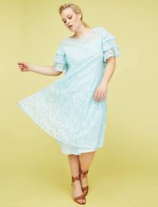 Lane-Bryant-Ruffle-Sleeve-Lace-Swing-Dress-Womens-Plus-16-20-22-Iced-Aqua-1x-2x