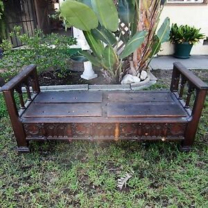 17th-C-HAND-CARVED-SOLID-WOOD-BED-Twin-Single-Settle-Spanish-YGGDRASIL-Antique