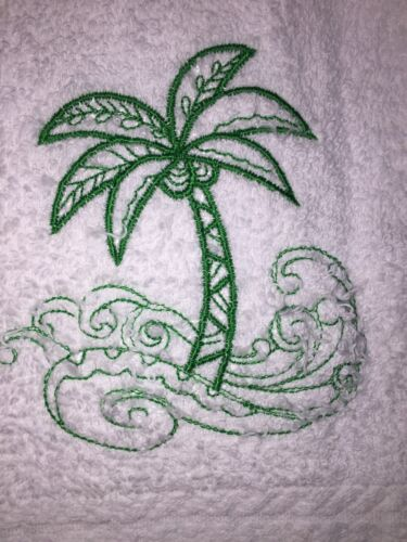 Green  Colored Palm Tree Doodle Embroidered White Bathroom Hand Towel