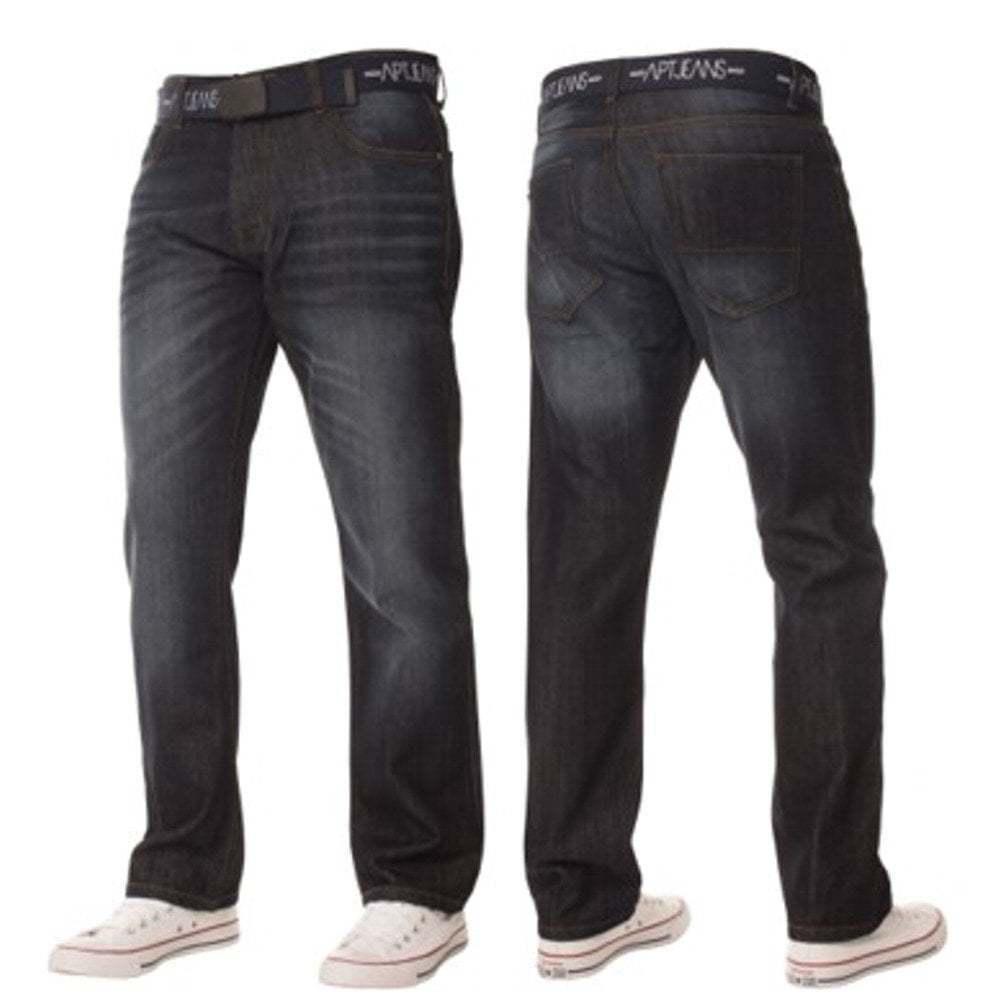 Mens Enzo Apt New Rico Designer Denim Straight Leg Jeans Dark Wash Grey BNWT