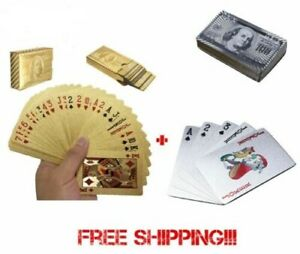 2-Decks-Deck-of-Gold-and-Silver-Foil-Plating-Poker-Plastic-Playing-Cards