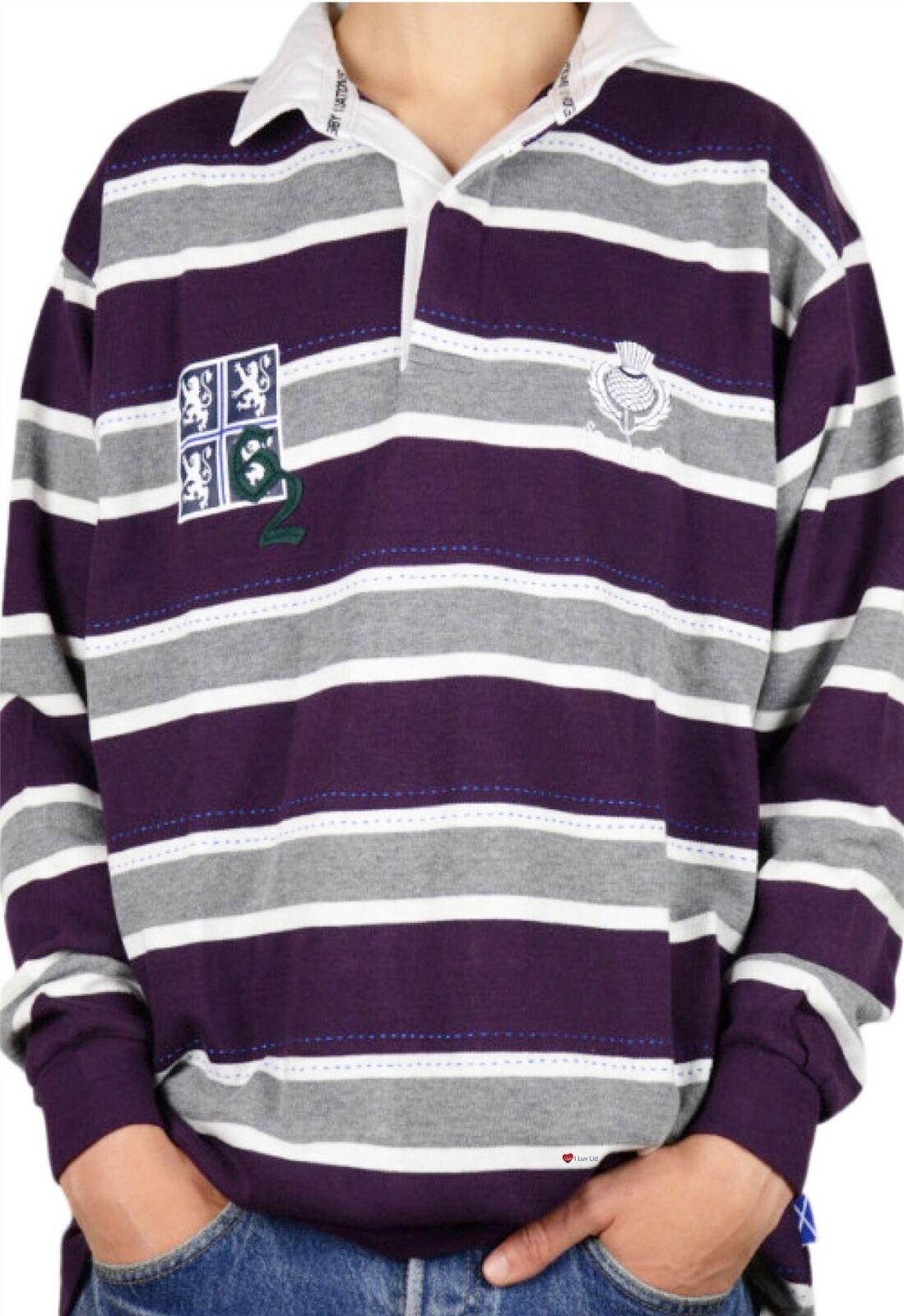 Scottish Rugby Shirt Men s Edinburgh 62 High Design Purple Grey Large