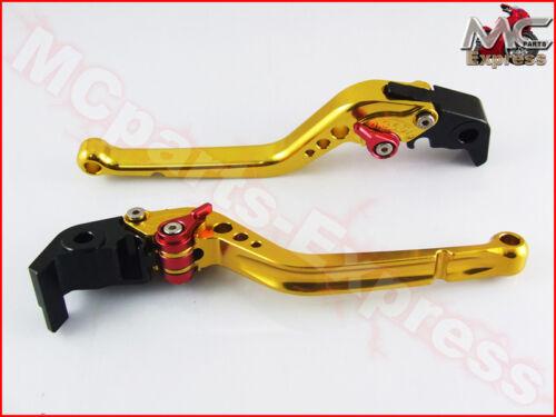 Einstellbar Lang Motorrad Hebel Bremse Kupplung Gold Kawasaki ZXR400 Jedes Bj
