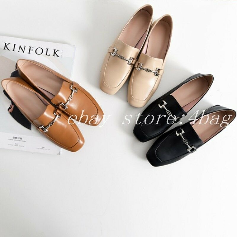 Casual Slip On Metal Chunky Heels Loafers Ladies Slippers Leather Buckles shoes