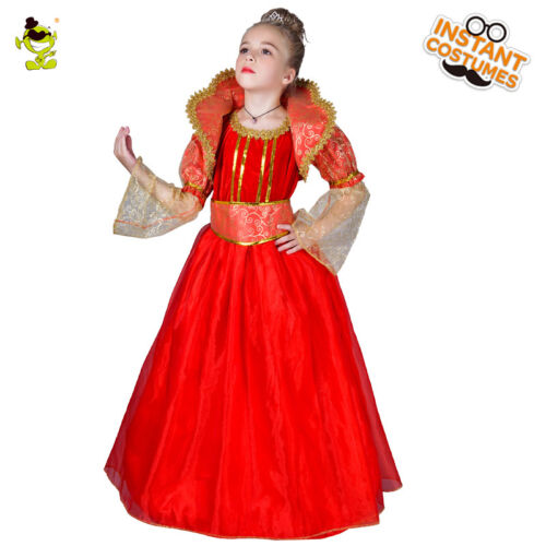 Girls Deluxe Red Princess Costumes Kids Noble Royal Queen Cosplay Fancy Dress